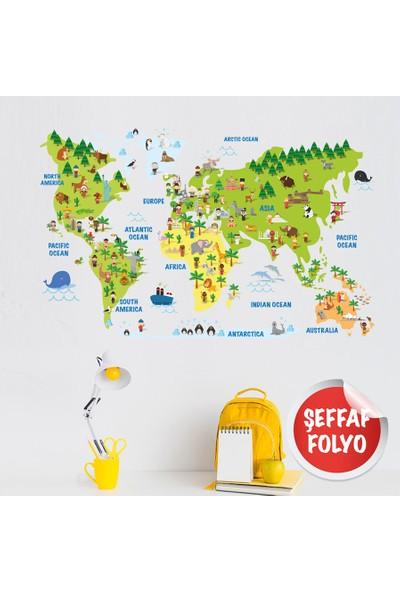 Yapıştırrco Eğitici Dünya Haritası Çocuk Odası Duvar Stickerı Şeffaf Folyo