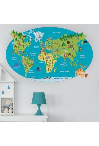 Yapıştırrco İngilizce Hayvanlı Dünya Haritası Duvar Stickerı
