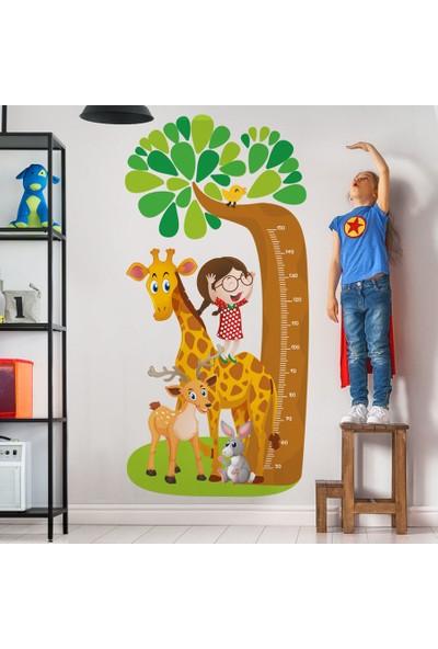Yapıştırrco Zürafa Ve Arkadaşları Boy Ölçer Duvar Stickerı