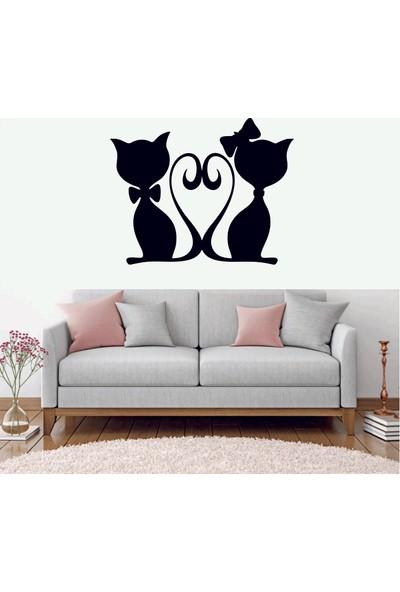 Başaran Sticker Kediler Sevgili Dekoratif Duvar Sticker