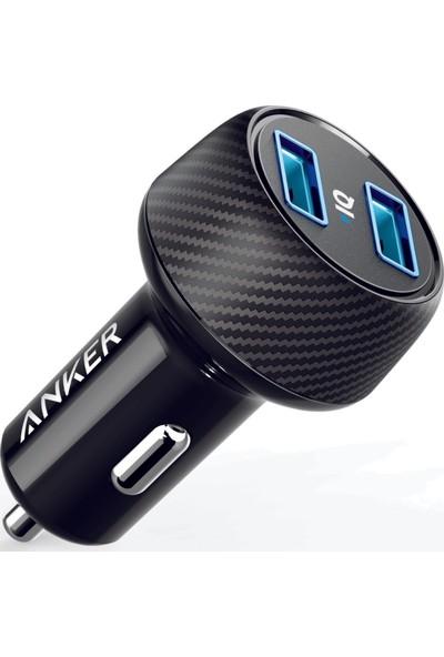 Anker PowerDrive 2 Elite Hızlı Araç Şarj Cihazı - 24W Çıkış Gücü ,Power IQ , 2 Cihazı Aynı Anda Şarj Edebilir - Siyah - A2212H11-OFP