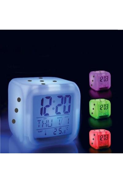 Bundera Dicebun Zar Saat Alarmlı Gece Lambası Elektronik Termometre Takvim Fonksiyonları Birarada Alarm Saat