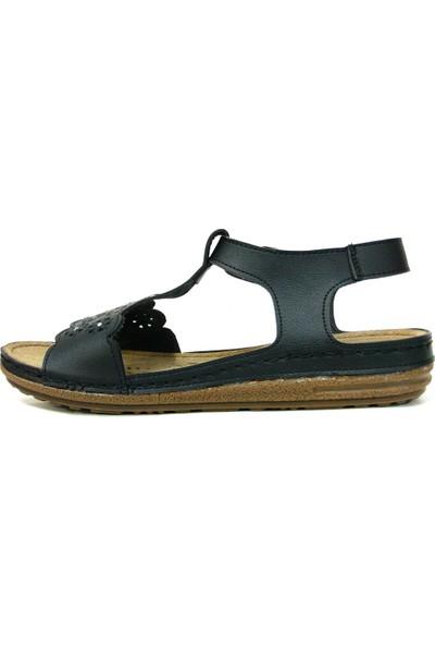 Paprika 74874 Siyah Anatomik Comfort Kadın Sandalet