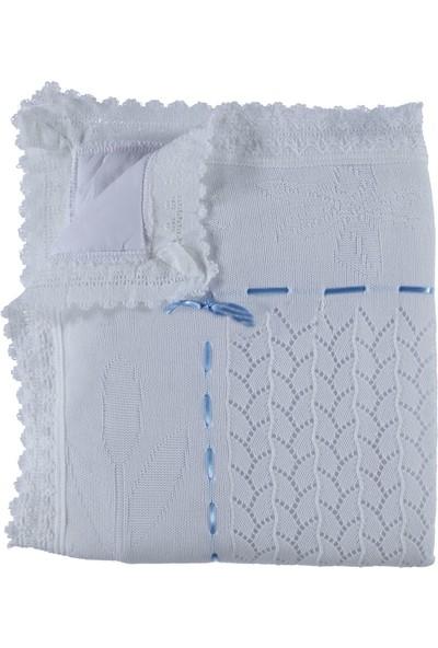 Mızmız Bebe Elyaflı Çiçekli Battaniye Beyaz
