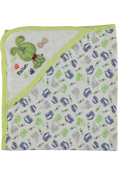 Beyzi Bebe Tek Kat Penye Nakışlı Şapkalı Battaniye Yeşil