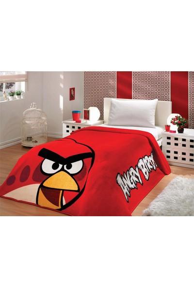 Aksu Tek Kişilik Lisanslı Battaniye Angry Birds Kırmızı