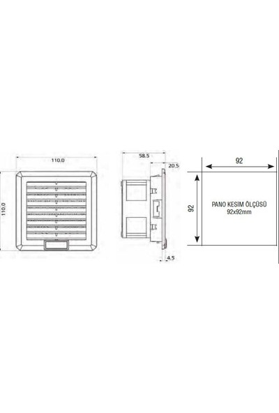 Plastim 100 M3 /H - Ip54 160X160X69 Filtreli Fan Klemens Bağlantı