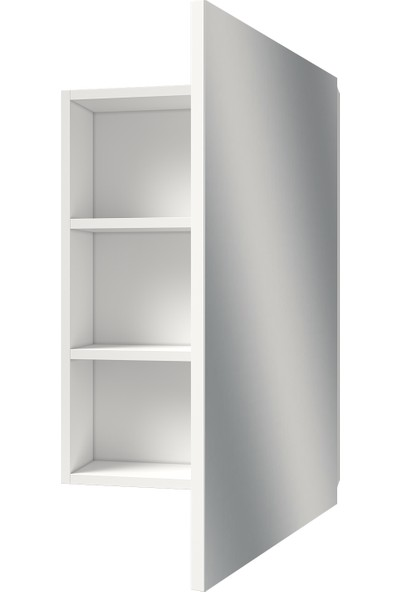Banos AD1 Kulpsuz Tek Kapaklı Beyaz Mdf 55 cm Aynalı Banyo Üst Dolabı