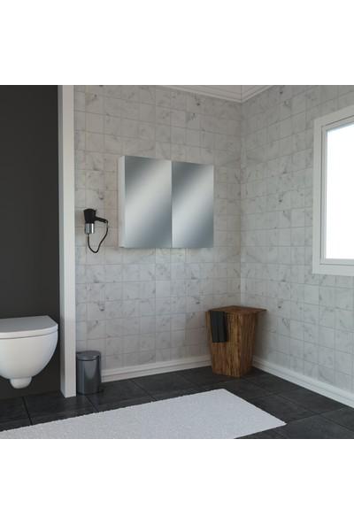 Banos AD2 Kulpsuz 2 Kapaklı Beyaz Mdf 80 cm Aynalı Banyo Üst Dolabı