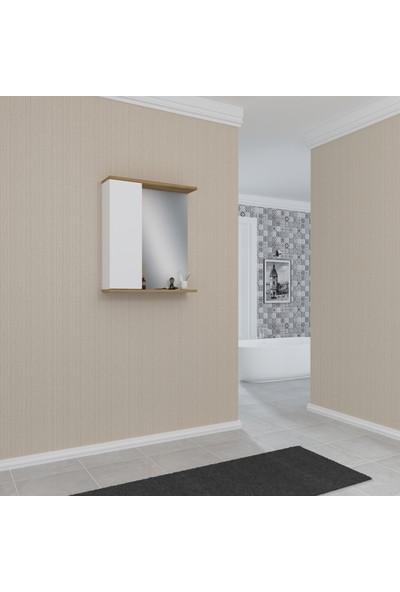 Banos AD3 Kulpsuz Tek Kapaklı Beyaz Ceviz Mdf 60 cm Aynalı Banyo Üst Dolabı