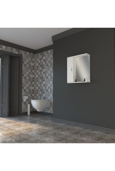 Banos AD4 Metal Kulplu Tek Kapaklı Beyaz Mdf 60 cm Aynalı Üst Banyo Dolabı