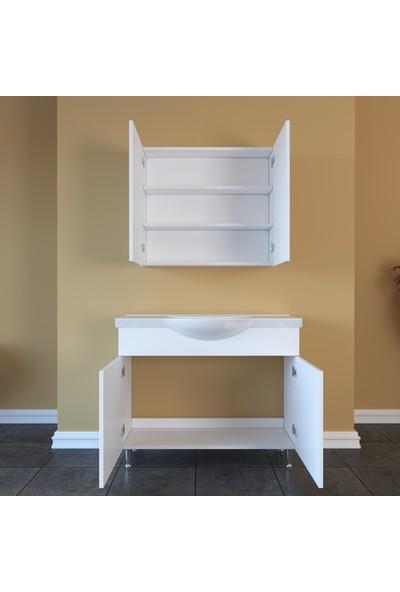 Banos AL1 Metal Ayaklı 2 Kapaklı Lavabolu Beyaz Mdf 100 cm Banyo Dolabı + Aynalı Banyo Üst Dolabı