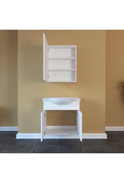 Banos AL2 Ayaksız 2 Kapaklı Lavabolu Beyaz Mdf 65 cm Banyo Dolabı + Aynalı Banyo Üst Dolabı