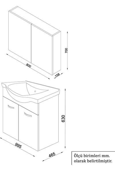 Banos AL2 Ayaksız 2 Kapaklı Lavabolu Beyaz Mdf 100 cm Banyo Dolabı + Aynalı Banyo Üst Dolabı