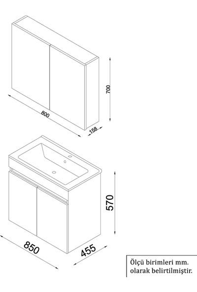 Banos AL3 Ayaksız 2 Kapaklı Lavabolu Beyaz Mdf 85 cm Banyo Dolabı + Aynalı Banyo Üst Dolabı