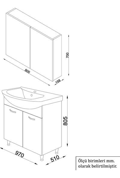 Banos AL4 Metal Ayaklı 2 Kapaklı Lavabolu Beyaz Mdf 100 cm Banyo Dolabı + Aynalı Banyo Üst Dolabı
