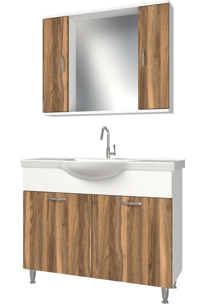 Banos KL5 Metal Ayaklı 2 Kapaklı Lavabolu Tesbih Mdf 100 cm Banyo Dolabı + Aynalı Banyo Üst Dolabı