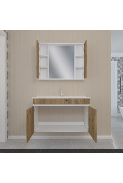 Banos KL7 Ayaksız 2 Kapaklı Lavabolu Ceviz Beyaz Mdf 100 cm Banyo Dolabı + Aynalı Banyo Üst Dolabı