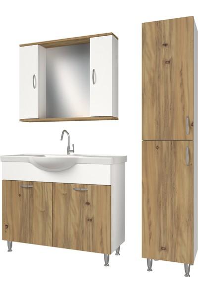 Banos KT1 Metal Ayaklı 2 Kapaklı Lavabolu Ceviz Beyaz Mdf 100 cm Banyo Dolabı + Aynalı Banyo Üst Dolabı + Banyo Boy Dolabı