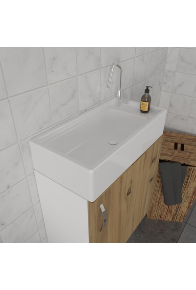 Banos LD5 Ayaksız Tek Kapaklı Lavabolu Ceviz Mdf 50 cm Banyo Dolabı