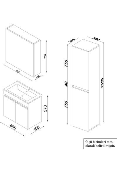 Banos TM3 Ayaksız 2 Kapaklı Lavabolu Beyaz Mdf 65 cm Banyo Dolabı + Aynalı Banyo Üst Dolabı + Banyo Boy Dolabı
