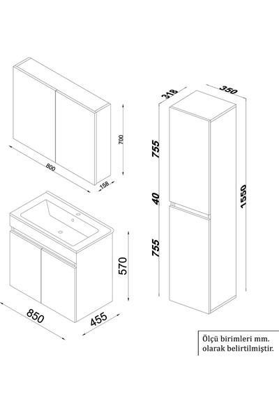 Banos TM3 Ayaksız 2 Kapaklı Lavabolu Beyaz Mdf 85 cm Banyo Dolabı + Aynalı Banyo Üst Dolabı + Banyo Boy Dolabı