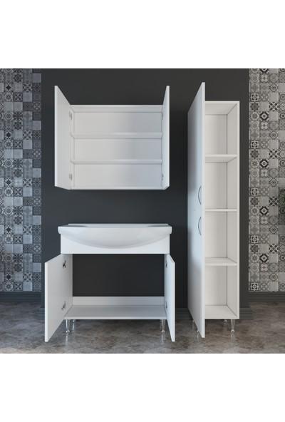 Banos TM4 Metal Ayaklı 2 Kapaklı Lavabolu Beyaz Mdf 85 cm Banyo Dolabı + Aynalı Banyo Üst Dolabı + Banyo Boy Dolabı