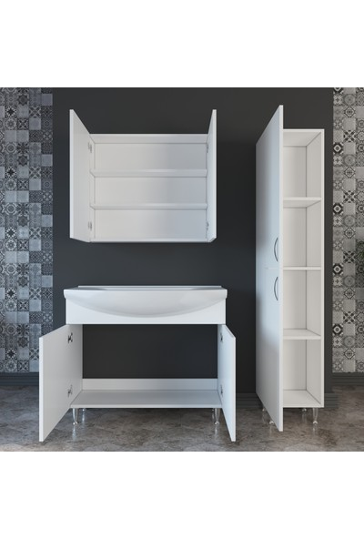 Banos TM4 Metal Ayaklı 2 Kapaklı Lavabolu Beyaz Mdf 100 cm Banyo Dolabı + Aynalı Banyo Üst Dolabı + Banyo Boy Dolabı