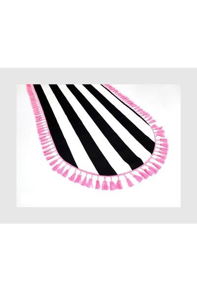 Dekorinyo Siyah Beyaz Çizgili Pembe Püsküllü Oval Dekoratif Runner