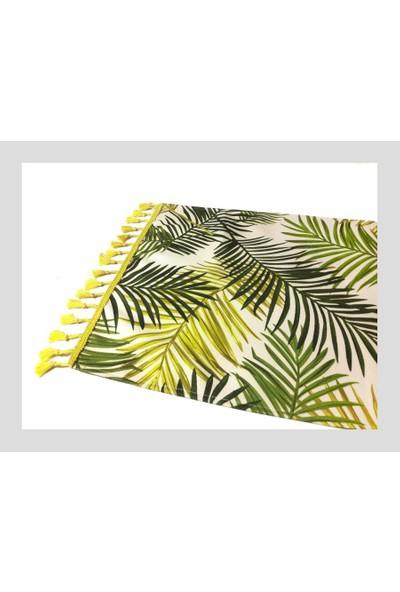 Dekorinyo Retro Palmiye Yaprakları Desenli Dekoratif Runner
