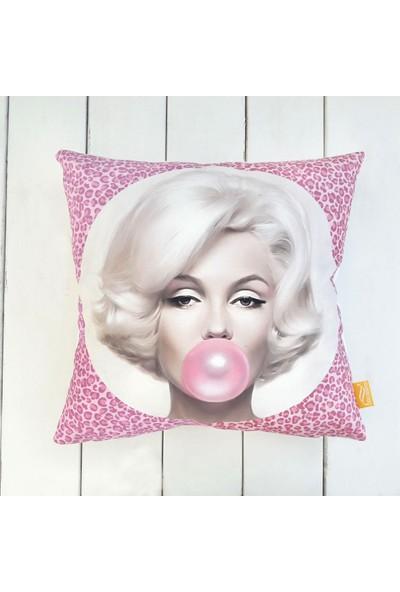 Dekorinyo Balonlu Marilyn Monroe Dekoratif Kırlent Kılıfı