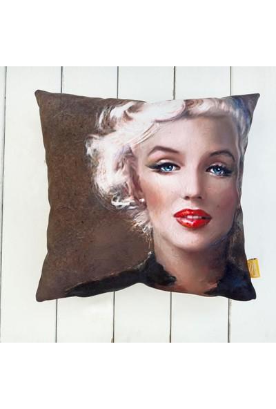 Dekorinyo Marilyn Monroe Zerafeti Dekoratif Kırlent Kılıfı