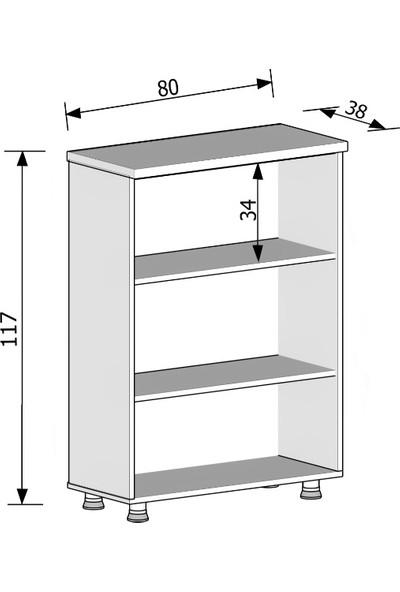 Elizza Modüler Dünyası Kitaplık Dosya Dolabı Beyaz Meşe- 80X38X117
