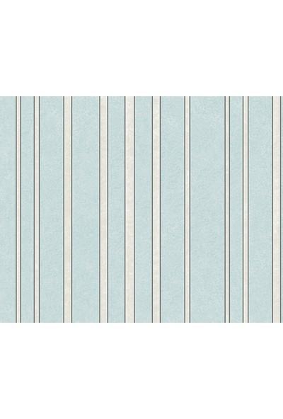 HannAtelier markası Beyaz Çizgili Desen Mavi Duvar Kağıdı