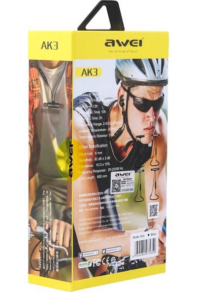 Awei AK3 Kablosuz Bluetooth V4.1 Mikrofonlu Kulaklık - Siyah