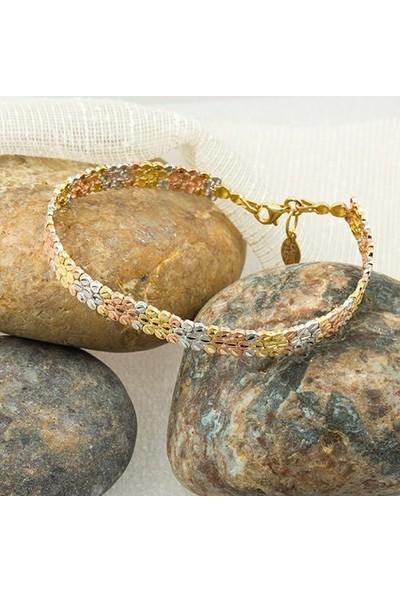 Label Jewelry Taşsız Üçrenkli 14 Ayar Altın Bileklik