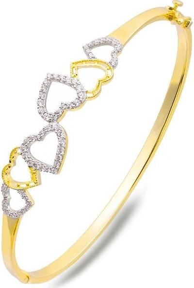 Label Jewelry Kalpler Taşlı 14 Ayar Altın Kelepçe Bilezik