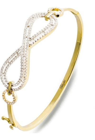 Label Jewelry Taşlı Sonsuzluklu Altın Kelepçe Bilezik