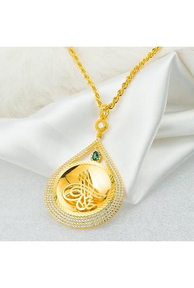 Bilezikci Yeşil Taşlı 14 Ayar Altın Zincirli Tuğralı Kolye