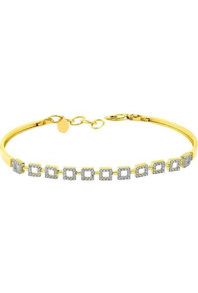 Label Jewelry Kareli 22 Ayar Altın Taşlı Bileklik
