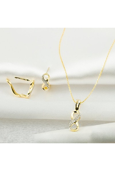 Label Jewelry Sonsuzluklu Taşlı 14 Ayar Altın İkili Set