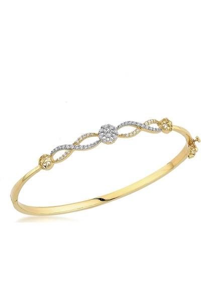 Label Jewelry Sonsuzluk 14 Ayar Altın Kelepçe Taşlı Bilezik