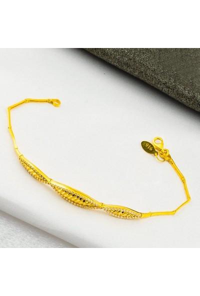 Label Jewelry Taşlı 22 Ayar Altın Bileklik