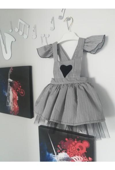 Shecco Babba Kız Çocuk Tütü Elbise Kalpli Siyah Beyaz 1-4 Yaş
