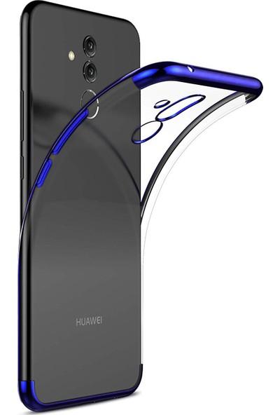 Case 4U Huawei Mate 20 Lite Kılıf Silikon Arka Kapak - Glitter - Mavi