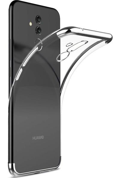 Case 4U Huawei Mate 20 Lite Kılıf Silikon Arka Kapak - Glitter - Gümüş