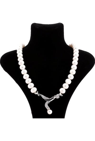 Saray Çarşısı K0300184 925 Ayar Gümüş Broşlu Hakiki İnci Kolye