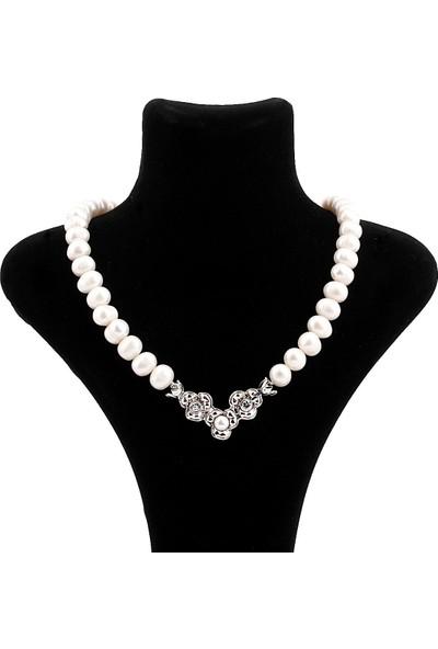 Saray Çarşısı K0300198 925 Ayar Gümüş Broşlu Hakiki İnci Kolye