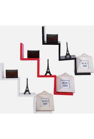En Pratik Duvar Rafı Zigzag Beyaz-Kırmızı 3lü