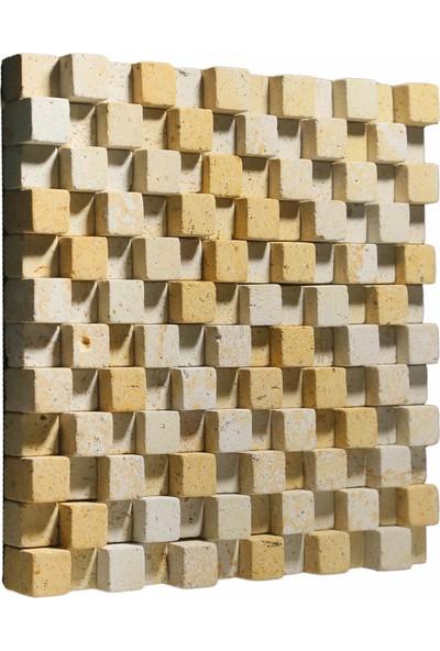 Kaptaş Kapadokya Doğal Taş Fileli Mozaik Ek12 Kubik Tambur